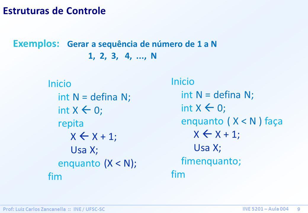Prof: Luiz Carlos Zancanella :: INE / UFSC-SC 9 INE 5201 – Aula 004 Estruturas de Controle Exemplos: Gerar a sequência de número de 1 a N 1, 2, 3, 4,.