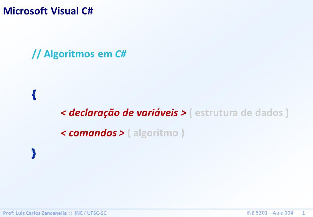 Prof: Luiz Carlos Zancanella :: INE / UFSC-SC 1 INE 5201 – Aula 004 Microsoft Visual C# // Algoritmos em C# { ( estrutura de dados ) ( algoritmo ) }