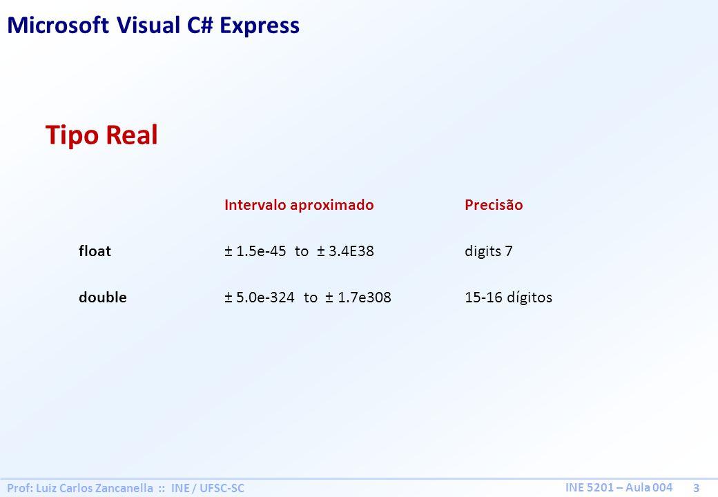 Prof: Luiz Carlos Zancanella :: INE / UFSC-SC 3 INE 5201 – Aula 004 Tipo Real Microsoft Visual C# Express Intervalo aproximadoPrecisão float± 1.5e-45 to ± 3.4E38digits 7 double± 5.0e-324 to ± 1.7e30815-16 dígitos