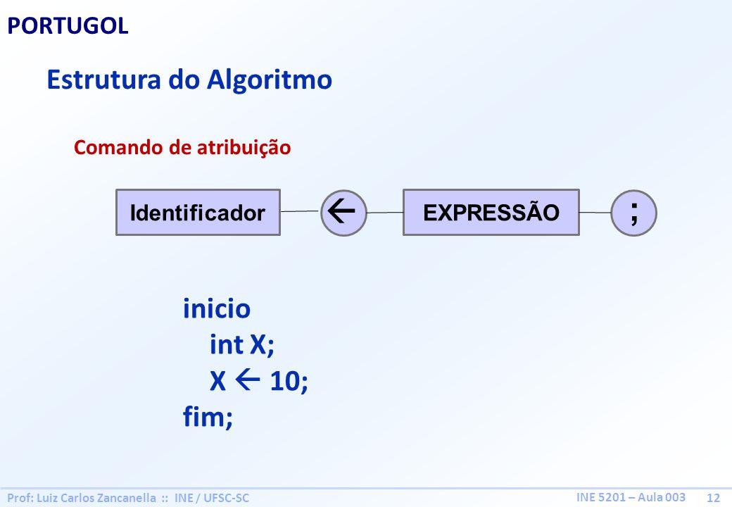 Prof: Luiz Carlos Zancanella :: INE / UFSC-SC 12 INE 5201 – Aula 003 PORTUGOL Estrutura do Algoritmo Comando de atribuição EXPRESSÃOIdentificador ; in
