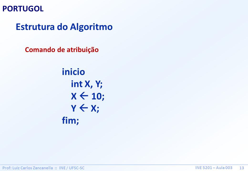 Prof: Luiz Carlos Zancanella :: INE / UFSC-SC 13 INE 5201 – Aula 003 PORTUGOL Estrutura do Algoritmo Comando de atribuição inicio int X, Y; X 10; Y X;
