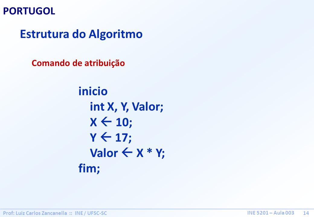 Prof: Luiz Carlos Zancanella :: INE / UFSC-SC 14 INE 5201 – Aula 003 PORTUGOL Estrutura do Algoritmo Comando de atribuição inicio int X, Y, Valor; X 1