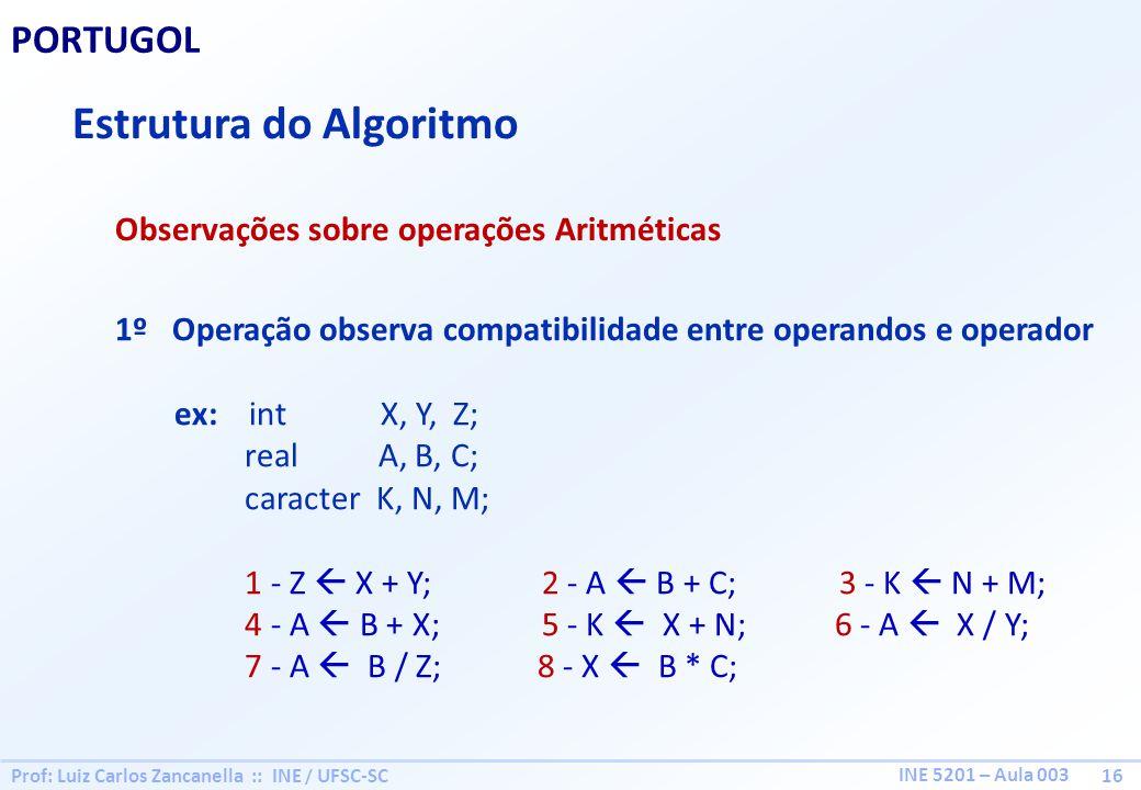 Prof: Luiz Carlos Zancanella :: INE / UFSC-SC 16 INE 5201 – Aula 003 PORTUGOL Estrutura do Algoritmo Observações sobre operações Aritméticas 1º Operaç
