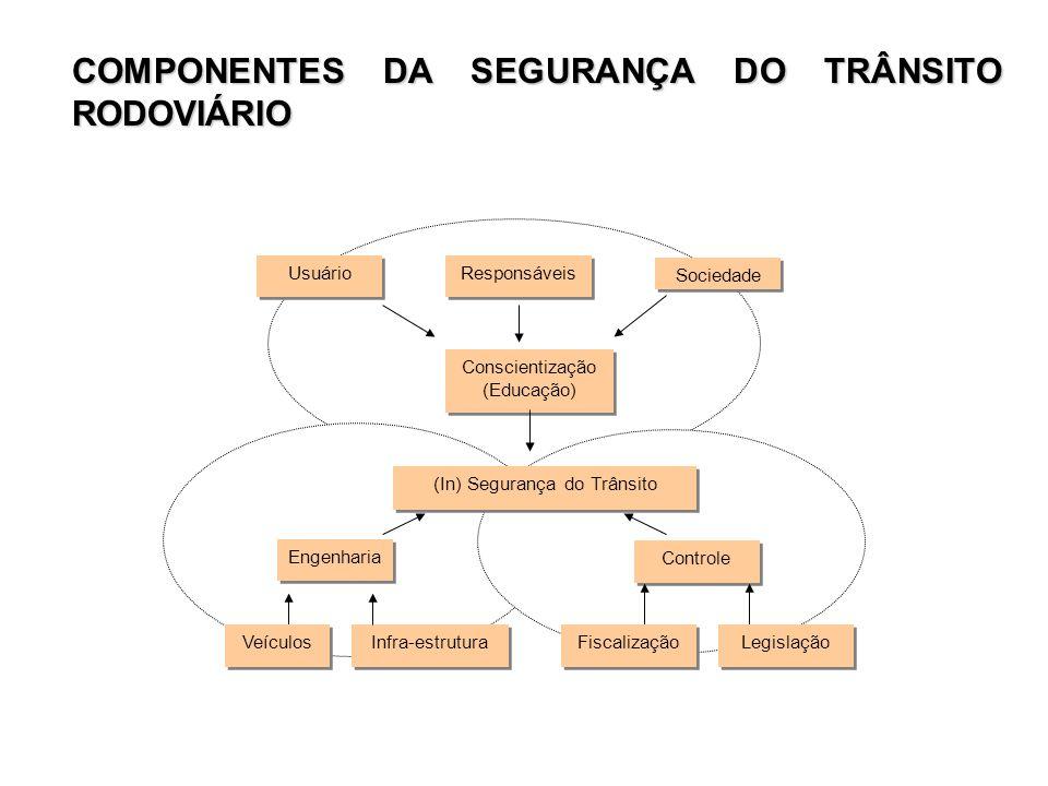 COMPONENTES DA SEGURANÇA DO TRÂNSITO RODOVIÁRIO Usuário Responsáveis Sociedade Conscientização (Educação) Conscientização (Educação) (In) Segurança do