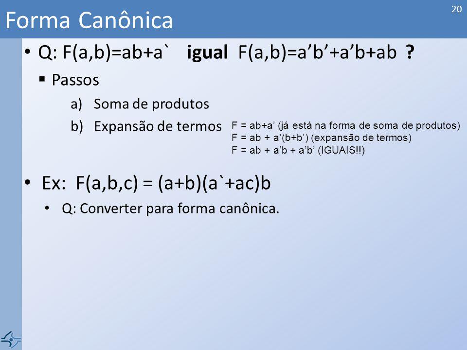 Q: F(a,b)=ab+a` igual F(a,b)=ab+ab+ab .