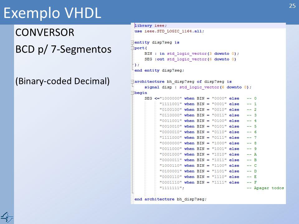 CONVERSOR BCD p/ 7-Segmentos (Binary-coded Decimal) Exemplo VHDL 25
