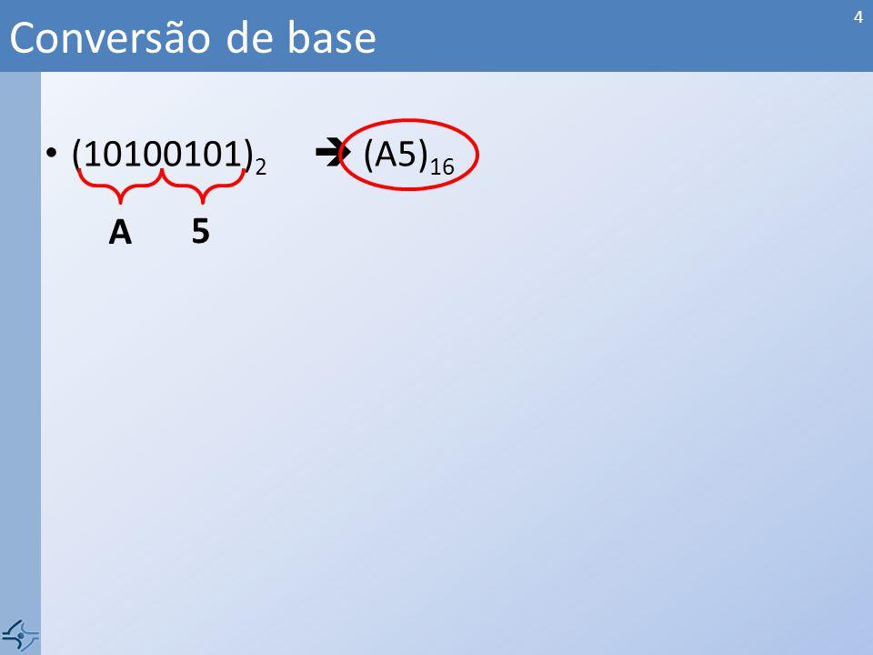 (10100101) 2 (A5) 16 Conversão de base A 5 4