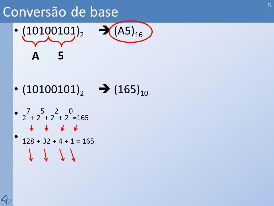 (10100101) 2 (A5) 16 (10100101) 2 (165) 10 2 7 + 2 5 + 2 2 + 2 0 =165 128 + 32 + 4 + 1 = 165 Conversão de base A 5 5