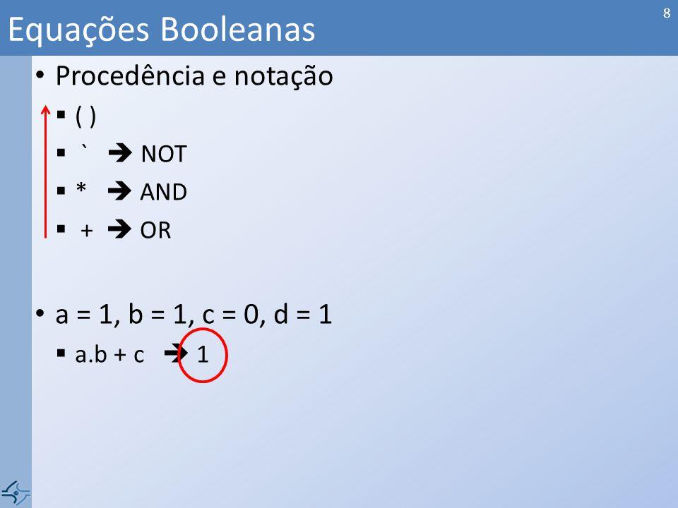 Procedência e notação ( ) ` NOT * AND + OR a = 1, b = 1, c = 0, d = 1 a.b + c 1 Equações Booleanas 8