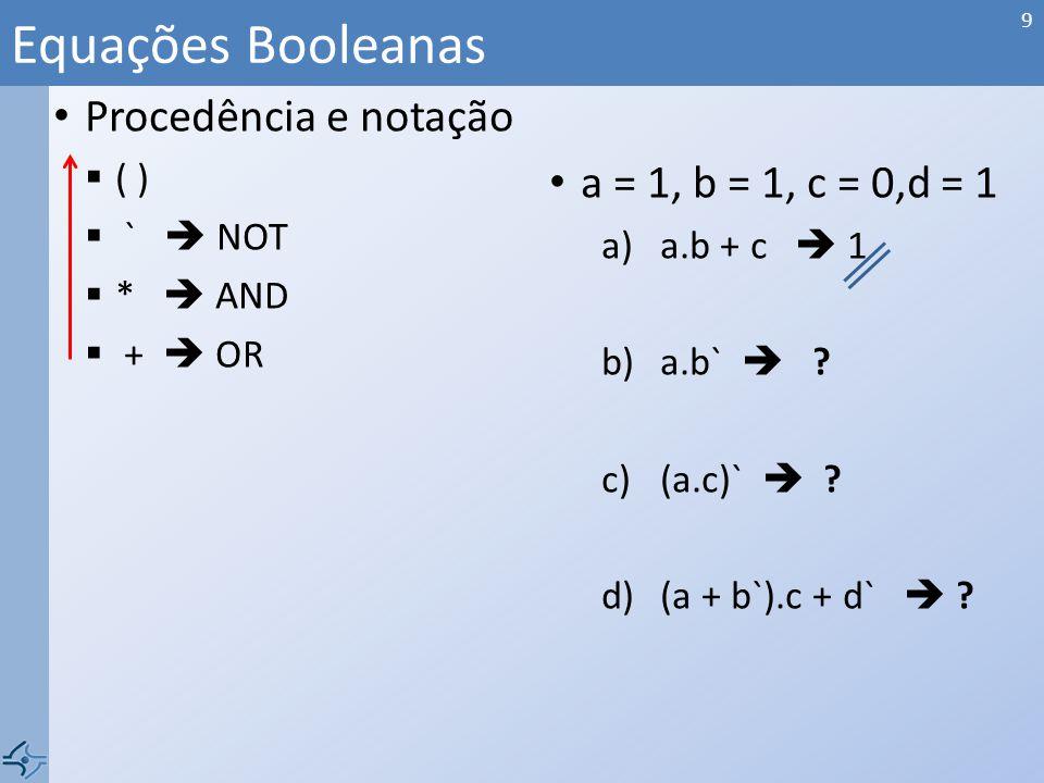 Procedência e notação ( ) ` NOT * AND + OR a = 1, b = 1, c = 0,d = 1 a)a.b + c 1 b)a.b` .