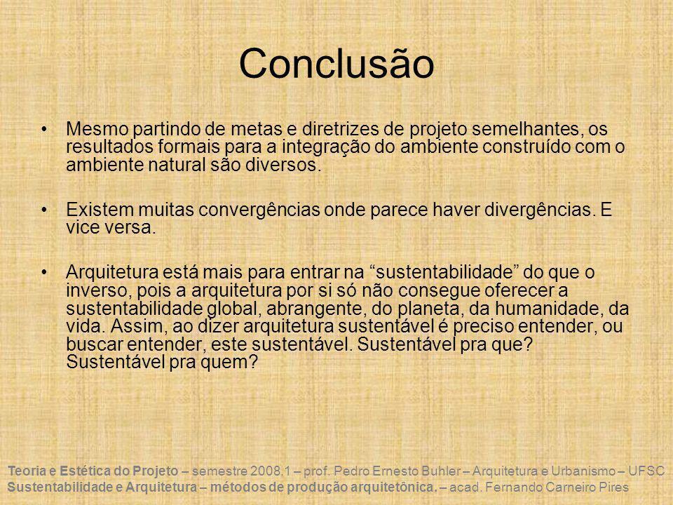 Teoria e Estética do Projeto – semestre 2008.1 – prof.