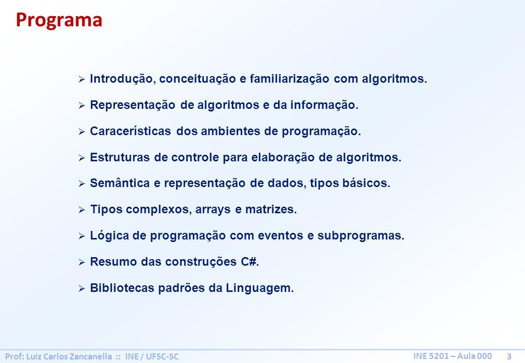 Prof: Luiz Carlos Zancanella :: INE / UFSC-SC 3 INE 5201 – Aula 000 Programa Introdução, conceituação e familiarização com algoritmos. Representação d