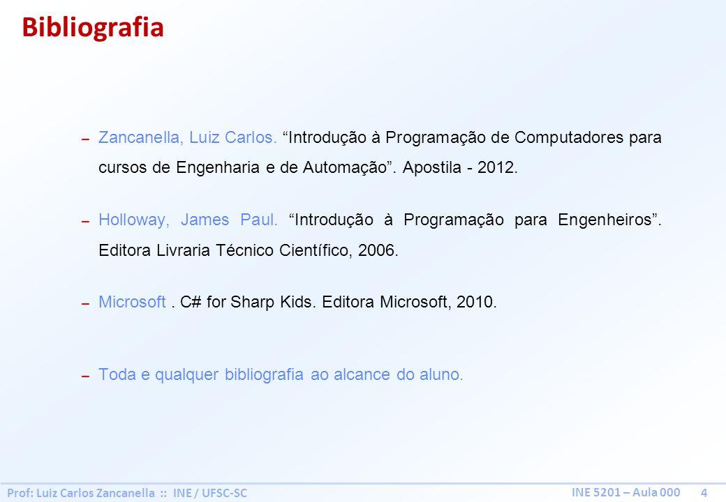 Prof: Luiz Carlos Zancanella :: INE / UFSC-SC 4 INE 5201 – Aula 000 – Zancanella, Luiz Carlos. Introdução à Programação de Computadores para cursos de