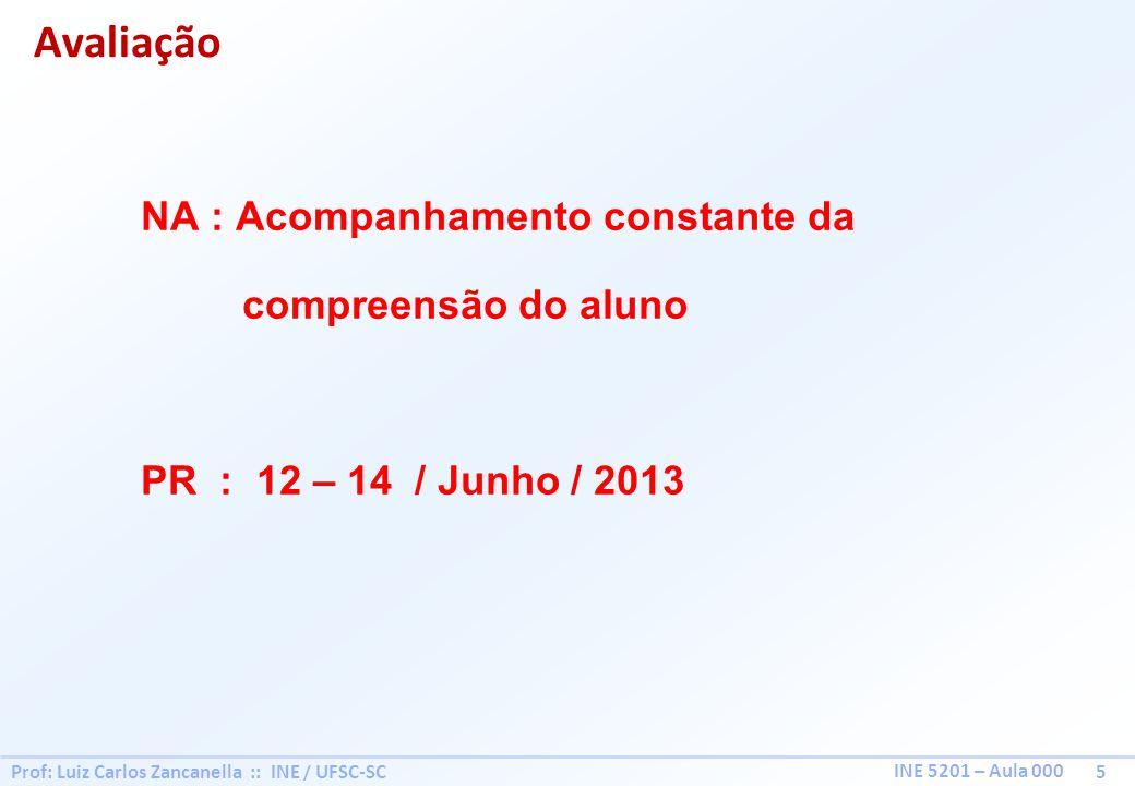 Prof: Luiz Carlos Zancanella :: INE / UFSC-SC 5 INE 5201 – Aula 000 NA : Acompanhamento constante da compreensão do aluno PR : 12 – 14 / Junho / 2013