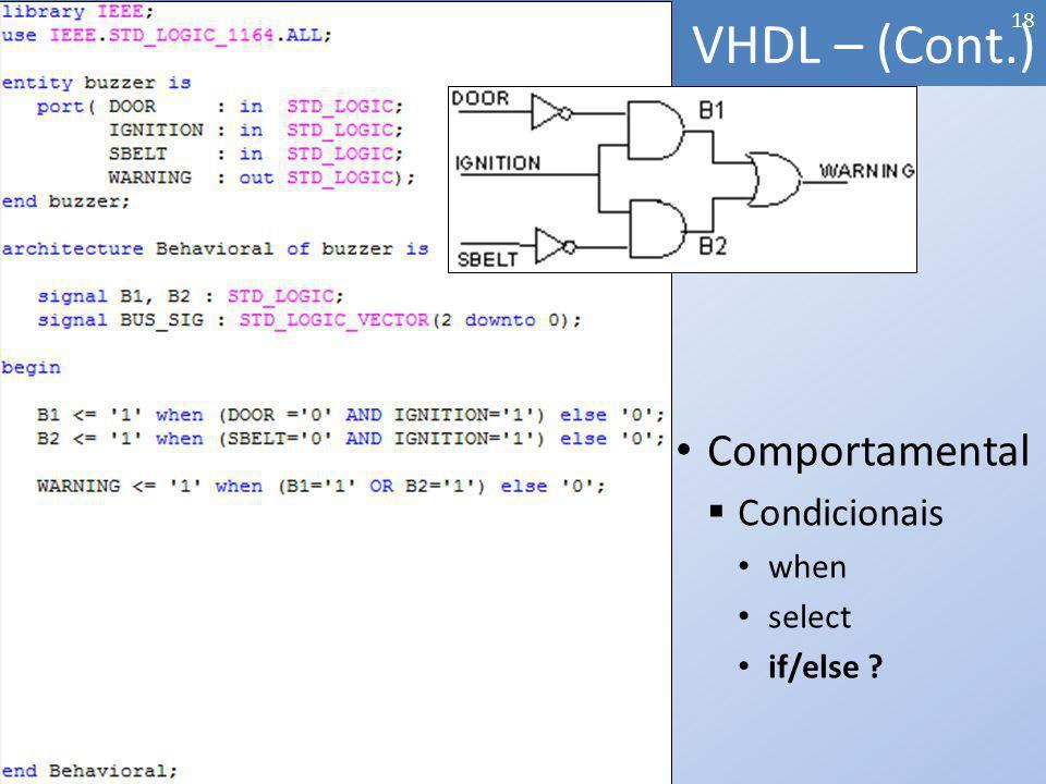 VHDL – (Cont.) 18 Comportamental Condicionais when select if/else ?