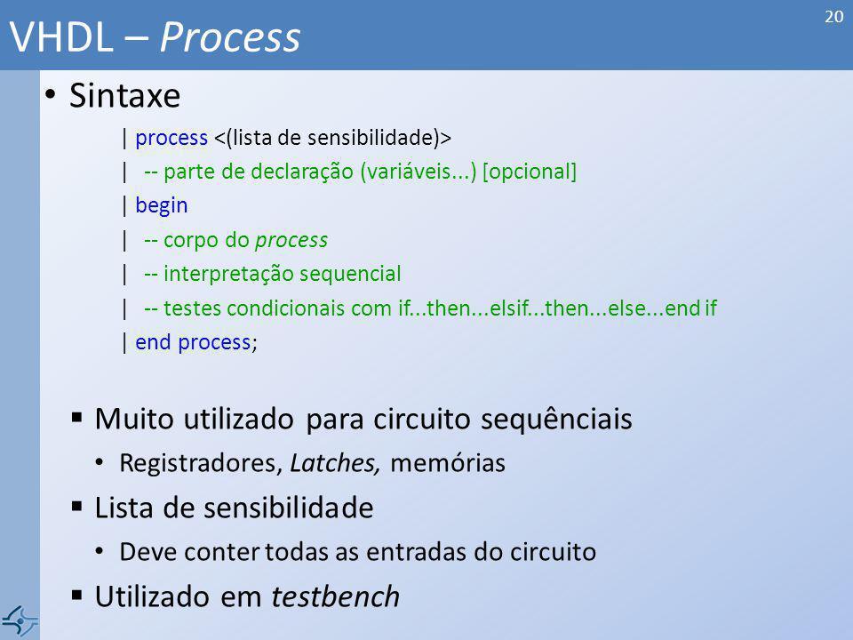 Sintaxe | process | -- parte de declaração (variáveis...) [opcional] | begin |-- corpo do process |-- interpretação sequencial |-- testes condicionais