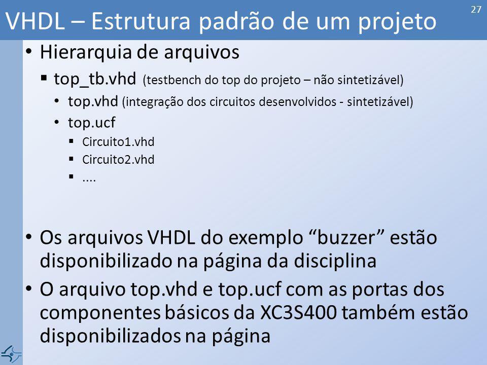 Hierarquia de arquivos top_tb.vhd (testbench do top do projeto – não sintetizável) top.vhd (integração dos circuitos desenvolvidos - sintetizável) top