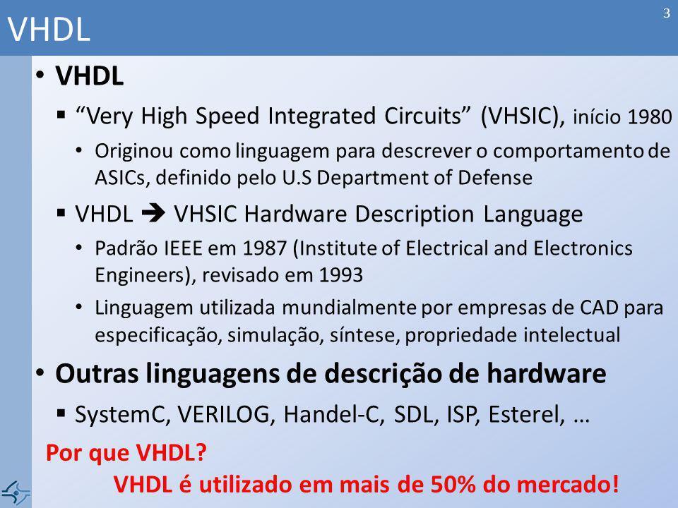 Declaração de array de bits Definição da posição do MSB (Most Significant Bit) Declaração | signal bus_msb, : std_logic_vector(3 downto 0); | signal bus_lsb, : std_logic_vector(0 to 3);...