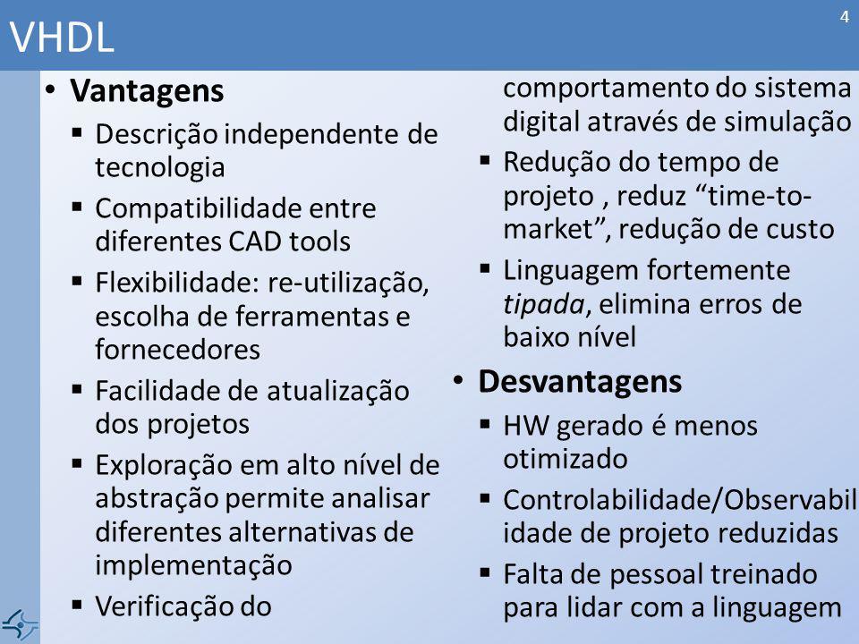 Vantagens Descrição independente de tecnologia Compatibilidade entre diferentes CAD tools Flexibilidade: re-utilização, escolha de ferramentas e forne