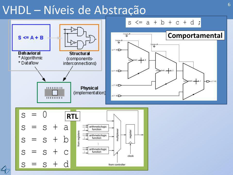 Básica Biblioteca (library) Entidade (entity) Arquitetura (architecture) Complementar Configuração (configuration) Pacote (package) Corpo do Pacote (package body) VHDL – Estrutura da Linguagem (Sintaxe) 7