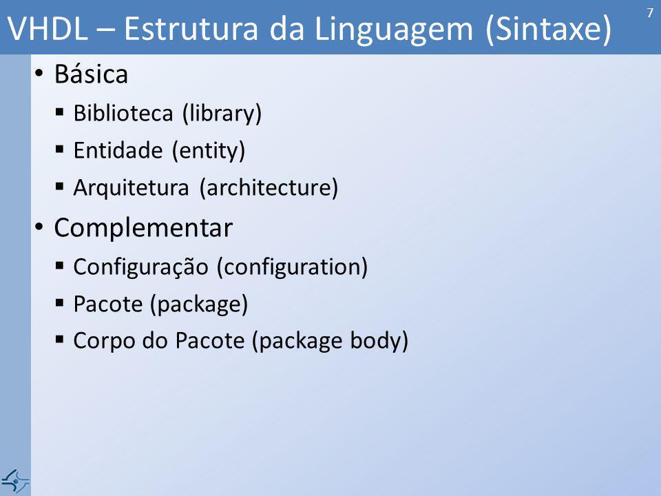 Biblioteca (library) Diversas funções e tipos básicos Biblioteca da IEEE é sempre incluída Quase todo arquivo VHDL começa: - library IEEE; - use IEEE.STD_LOGIC_1164.ALL; STD_LOGIC_1164 bit {0, 1} std_logic / std_logic_vector {0, 1, X, U, Z, W, L, H, -} std_ulogic / std_ulogic_vector {0, 1, X, U, Z, W, L, H, -}* and, nand, or, nor, not, xor, xnor Outros tipos: boolean {true, false}, time {ps, ns, ms...}, integer, real...