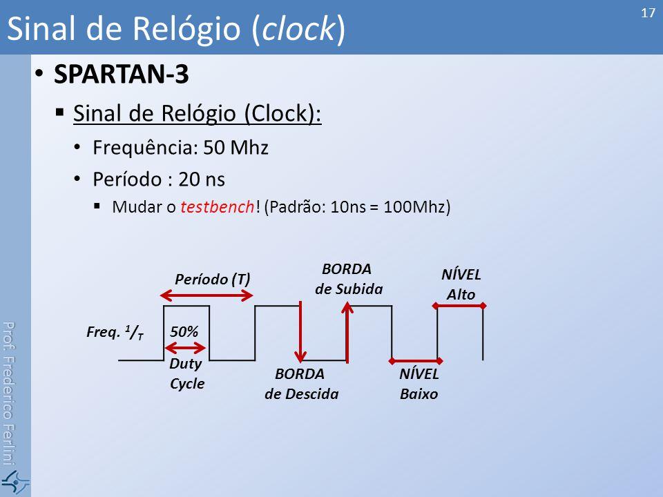 Prof. Frederico Ferlini SPARTAN-3 Sinal de Relógio (Clock): Frequência: 50 Mhz Período : 20 ns Mudar o testbench! (Padrão: 10ns = 100Mhz) Sinal de Rel