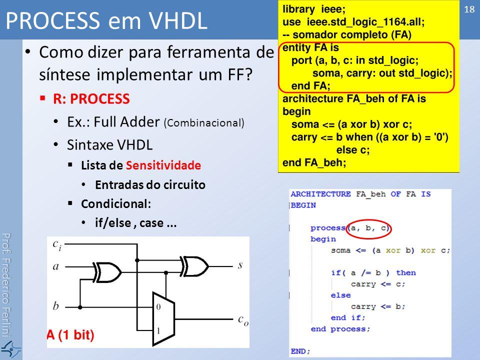 Prof. Frederico Ferlini Como dizer para ferramenta de síntese implementar um FF? R: PROCESS Ex.: Full Adder (Combinacional) Sintaxe VHDL Lista de Sens