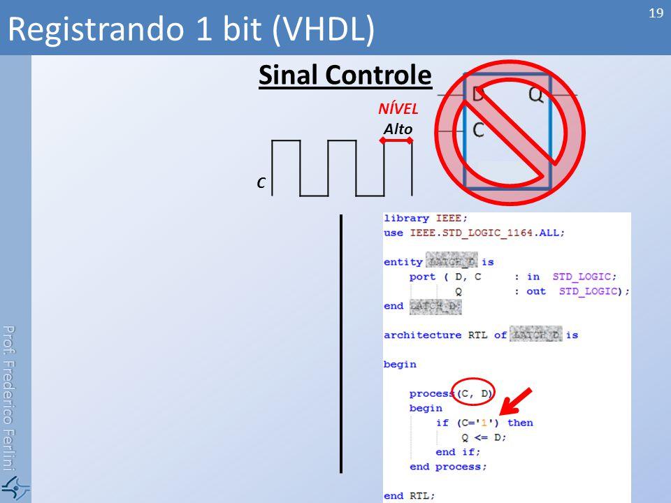 Prof. Frederico Ferlini Sinal Controle Registrando 1 bit (VHDL) 19 NÍVEL Alto C