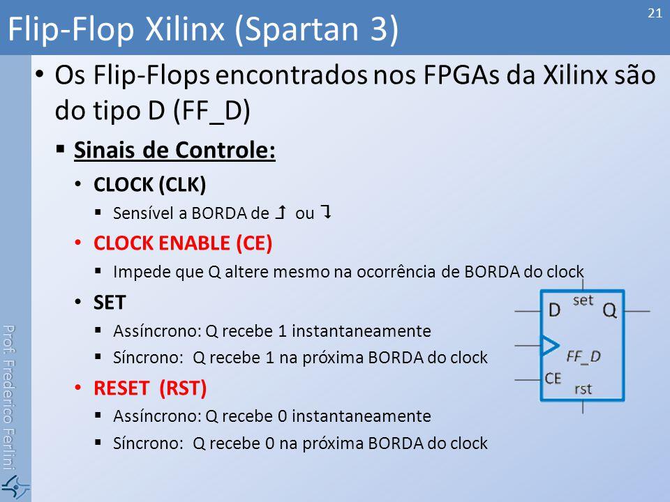 Prof. Frederico Ferlini Os Flip-Flops encontrados nos FPGAs da Xilinx são do tipo D (FF_D) Sinais de Controle: CLOCK (CLK) Sensível a BORDA de ou CLOC