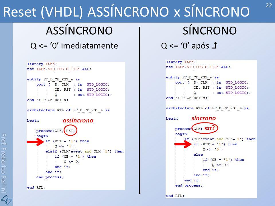Prof. Frederico Ferlini ASSÍNCRONO Q <= 0 imediatamente SÍNCRONO Q <= 0 após Reset (VHDL) ASSÍNCRONO x SÍNCRONO 22 assíncrono síncrono RST ?
