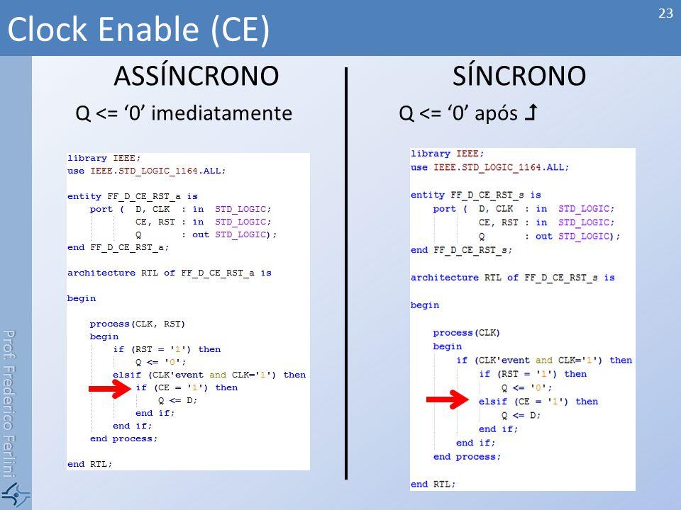 Prof. Frederico Ferlini ASSÍNCRONO Q <= 0 imediatamente SÍNCRONO Q <= 0 após Clock Enable (CE) 23