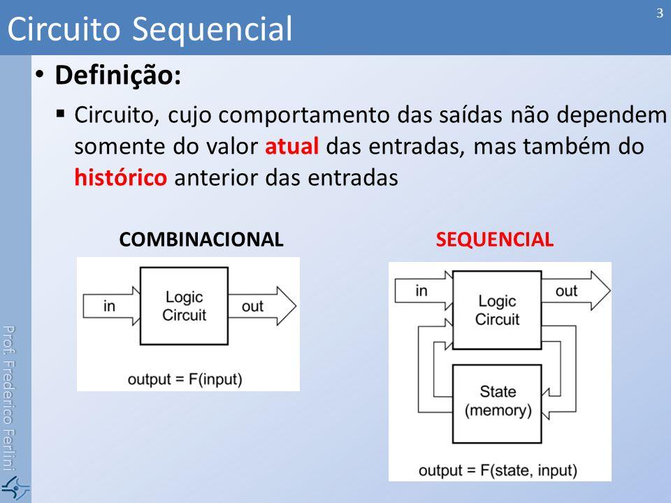Prof. Frederico Ferlini Definição: Circuito, cujo comportamento das saídas não dependem somente do valor atual das entradas, mas também do histórico a