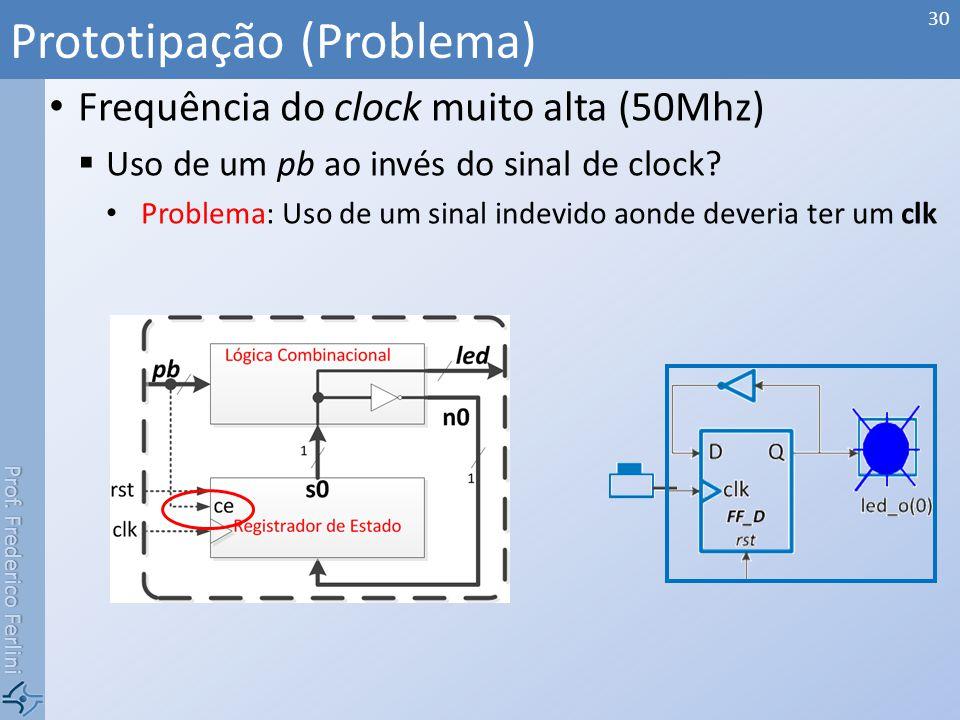 Prof. Frederico Ferlini Frequência do clock muito alta (50Mhz) Uso de um pb ao invés do sinal de clock? Problema: Uso de um sinal indevido aonde dever