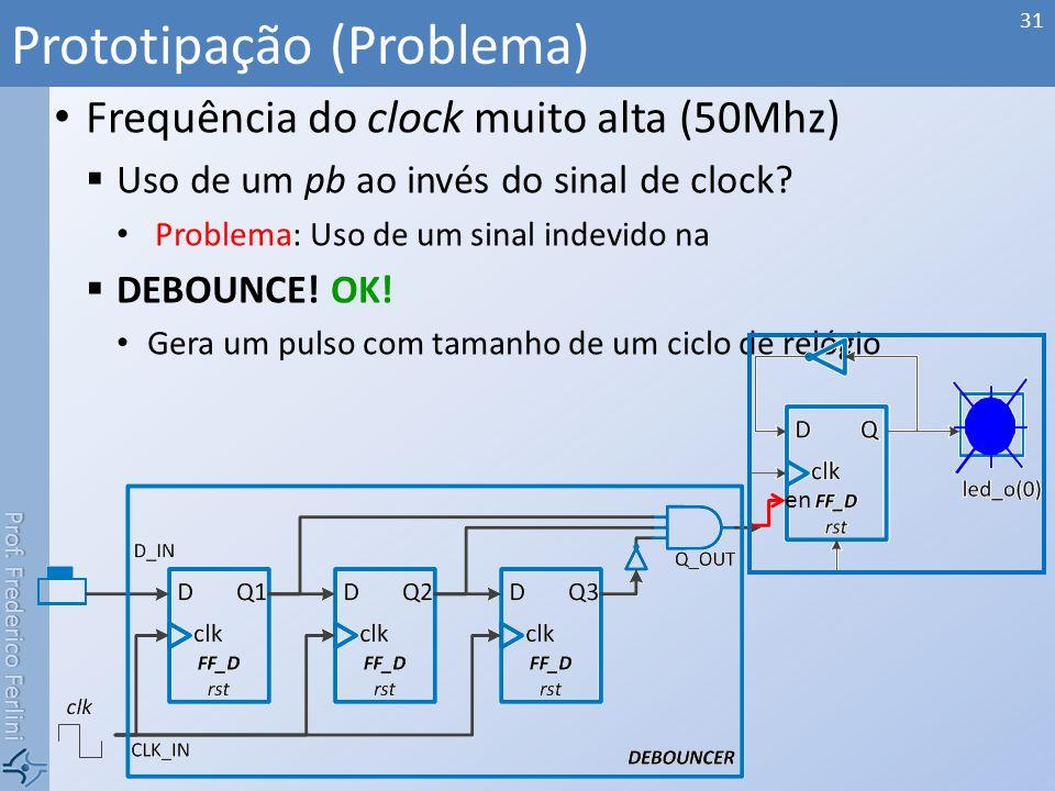 Prof. Frederico Ferlini Frequência do clock muito alta (50Mhz) Uso de um pb ao invés do sinal de clock? Problema: Uso de um sinal indevido na DEBOUNCE