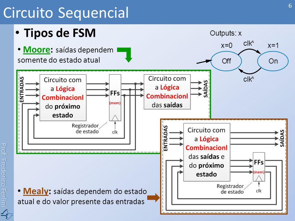 Prof. Frederico Ferlini Tipos de FSM Circuito Sequencial 6 Moore: saídas dependem somente do estado atual Mealy: saídas dependem do estado atual e do