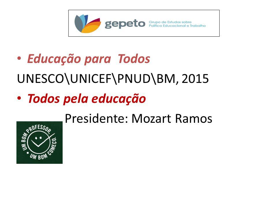 Educação para Todos UNESCO\UNICEF\PNUD\BM, 2015 Todos pela educação Presidente: Mozart Ramos