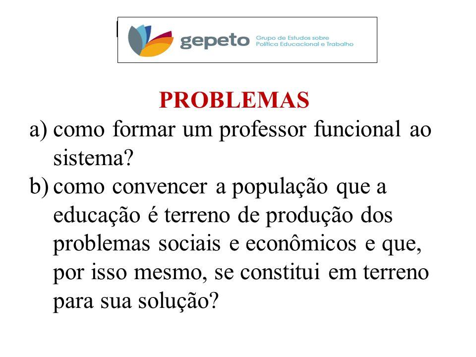 PESQUISAS EM CURSO PROBLEMAS a)como formar um professor funcional ao sistema.