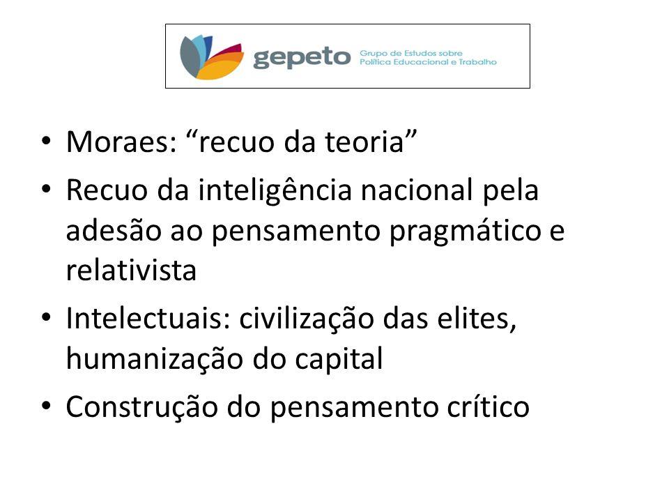 Moraes: recuo da teoria Recuo da inteligência nacional pela adesão ao pensamento pragmático e relativista Intelectuais: civilização das elites, humanização do capital Construção do pensamento crítico