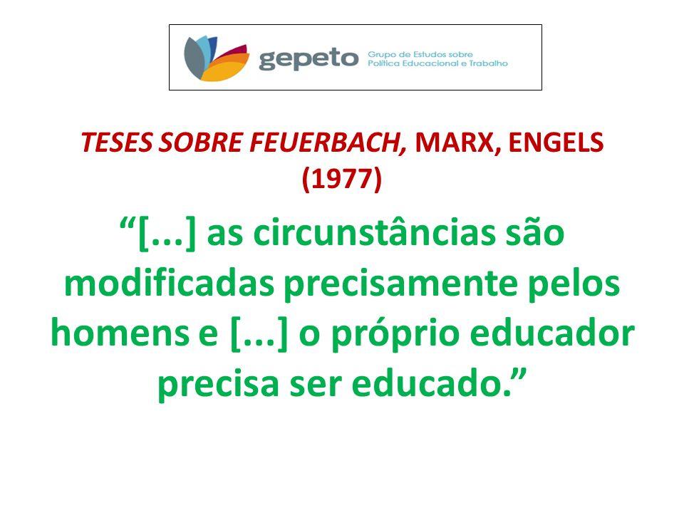 TESES SOBRE FEUERBACH, MARX, ENGELS (1977) [...] as circunstâncias são modificadas precisamente pelos homens e [...] o próprio educador precisa ser educado.