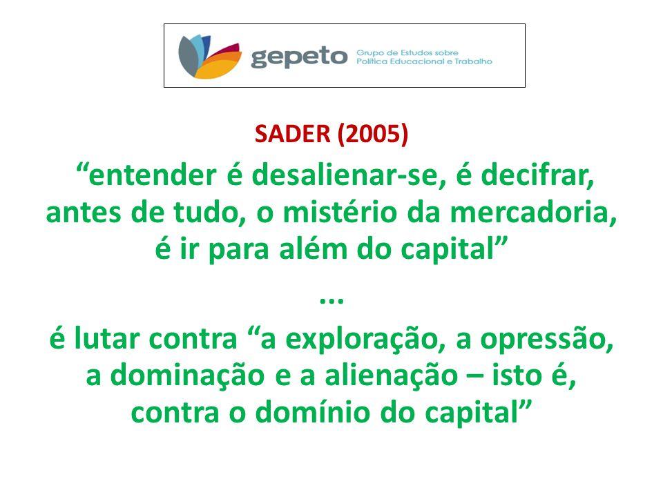 SADER (2005) entender é desalienar-se, é decifrar, antes de tudo, o mistério da mercadoria, é ir para além do capital...