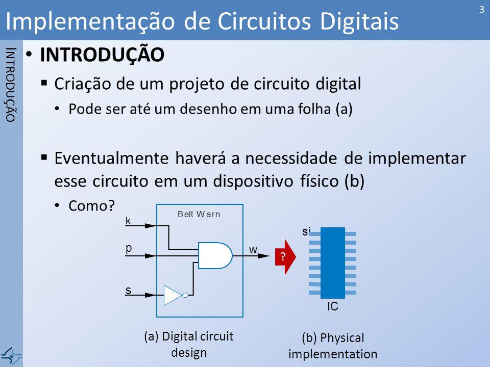 INTRODUÇÃO Criação de um projeto de circuito digital Pode ser até um desenho em uma folha (a) Eventualmente haverá a necessidade de implementar esse c