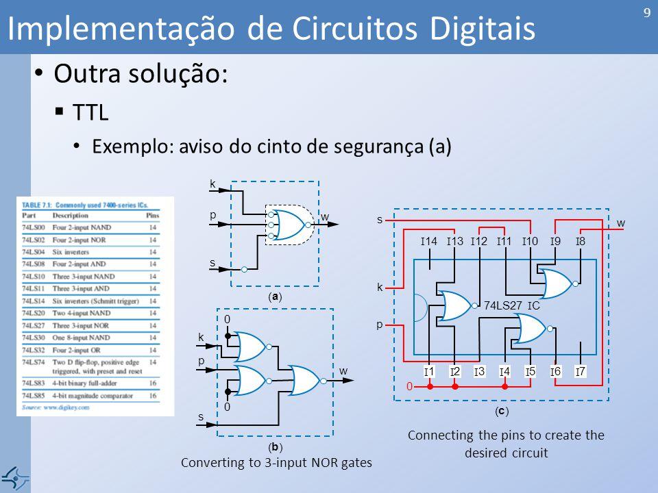 Outra solução: TTL Exemplo: aviso do cinto de segurança (a) Implementação de Circuitos Digitais 9 Connecting the pins to create the desired circuit 74