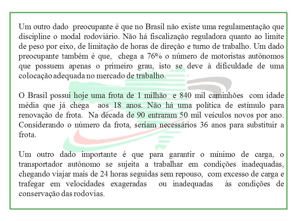 Um outro dado preocupante é que no Brasil não existe uma regulamentação que discipline o modal rodoviário. Não há fiscalização reguladora quanto ao li