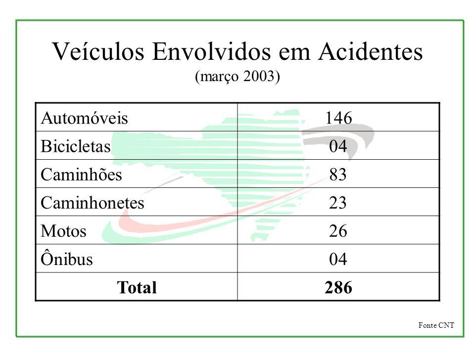 Veículos Envolvidos em Acidentes (março 2003) Automóveis146 Bicicletas04 Caminhões83 Caminhonetes23 Motos26 Ônibus04 Total286 Fonte CNT