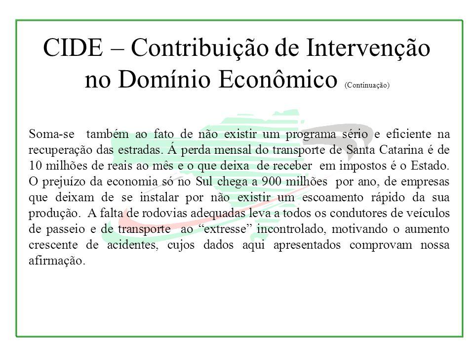 Soma-se também ao fato de não existir um programa sério e eficiente na recuperação das estradas. Á perda mensal do transporte de Santa Catarina é de 1