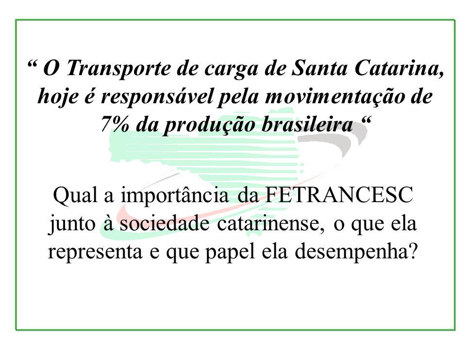 Qual a importância da FETRANCESC junto à sociedade catarinense, o que ela representa e que papel ela desempenha? O Transporte de carga de Santa Catari