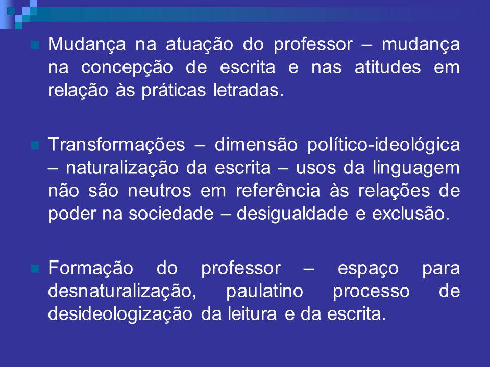 Mudança na atuação do professor – mudança na concepção de escrita e nas atitudes em relação às práticas letradas. Transformações – dimensão político-i
