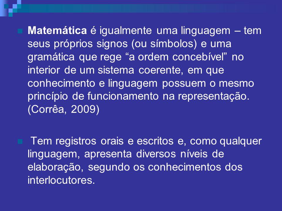 Matemática é igualmente uma linguagem – tem seus próprios signos (ou símbolos) e uma gramática que rege a ordem concebível no interior de um sistema c