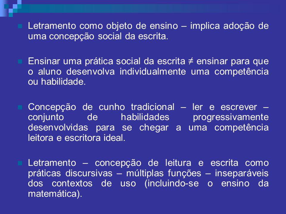 Letramento como objeto de ensino – implica adoção de uma concepção social da escrita. Ensinar uma prática social da escrita ensinar para que o aluno d