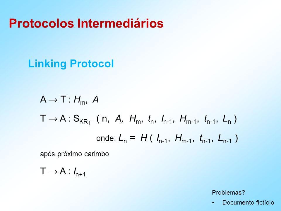 Protocolos Intermediários Linking Protocol A T : H m, A T A : S KR T ( n, A, H m, t n, I n-1, H m-1, t n-1, L n ) onde: L n = H ( I n-1, H m-1, t n-1, L n-1 ) após próximo carimbo T A : I n+1 Problemas.
